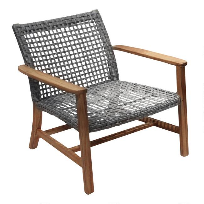 Teak Wood & All Weather Wicker Hakui Accent Chairs Set of 2