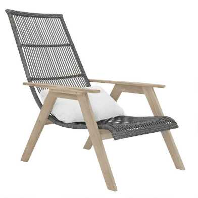 Gray All Weather and Teak Hakui Outdoor Chair Set Of 2