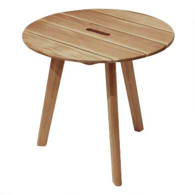 Round Teak Wood Hakui Accent Table