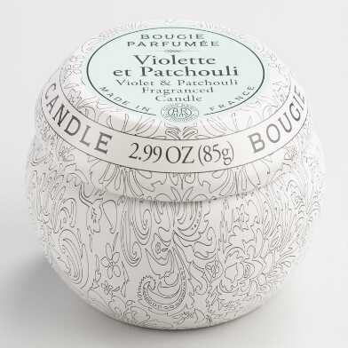 Violet and Patchouli Bougie Travel Candle Tin