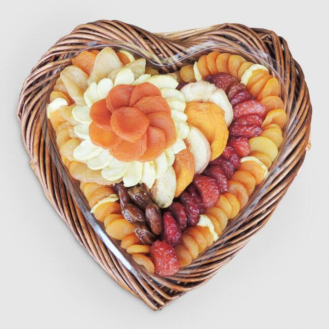 Dried Fruit in Heart Gift Basket