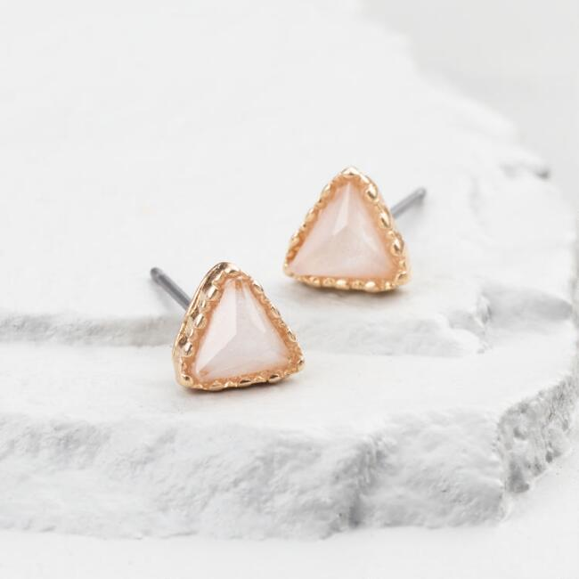 Gold Opal Triangle Stud Earrings
