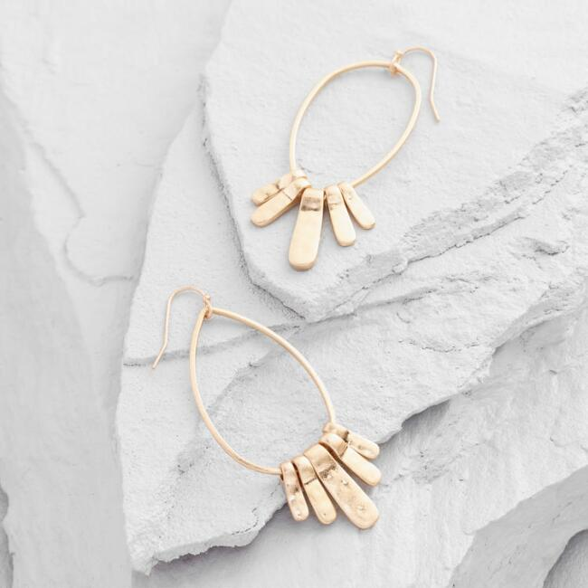 Gold Spokes Drop Earrings
