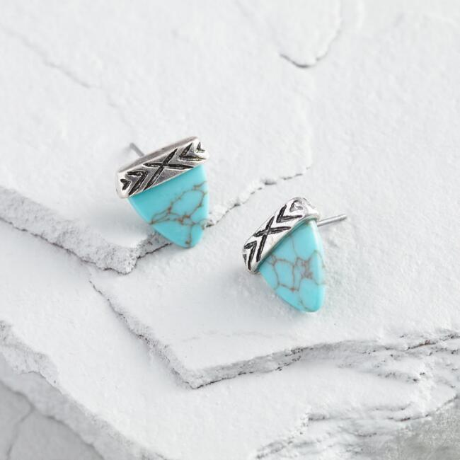 Silver and Turquoise Triangle Stud Earrings