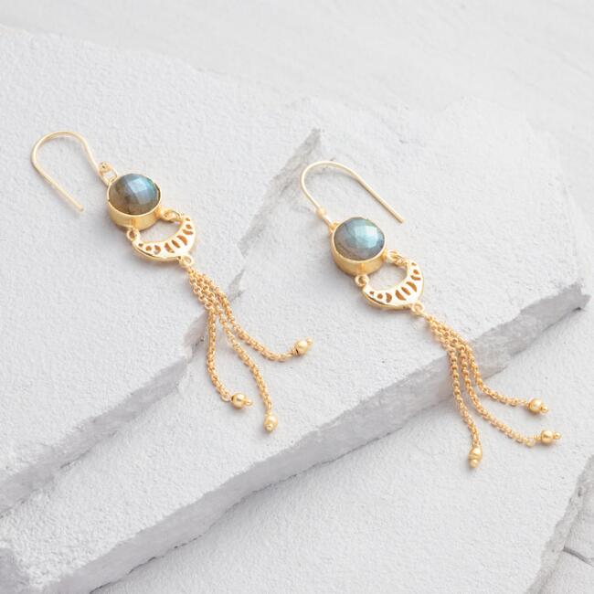 Labradorite and Gold Chain Drop Earrings