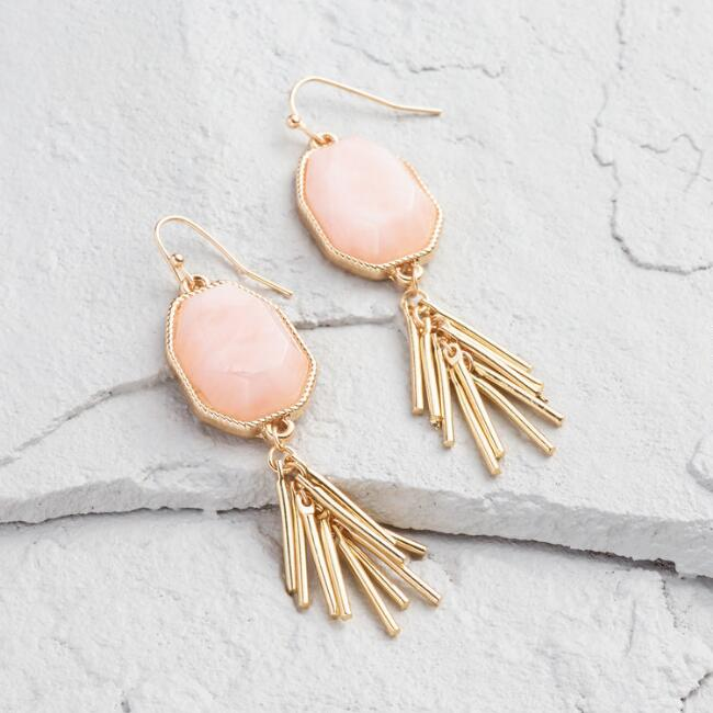Gold  and Rose Quartz  Drop Earrings