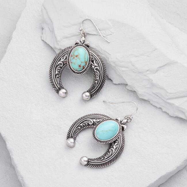 Silver and Turquoise Crescent Drop Earrings