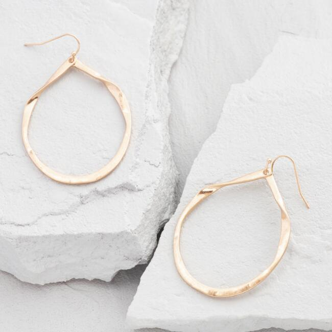 Gold Organic Teardrop Hoop Earrings