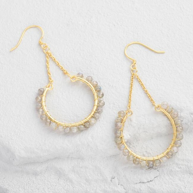 Gold and Labradorite Crescent Drop Earrings