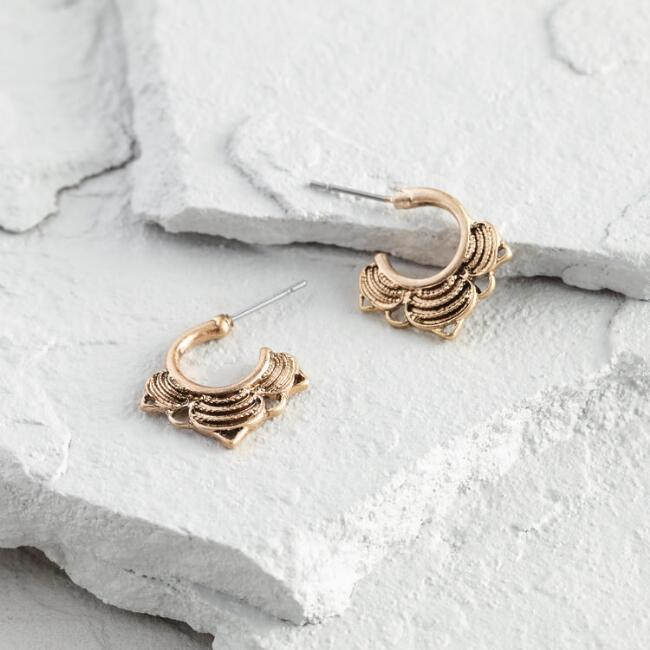 Small Gold Hoop Stud Earrings