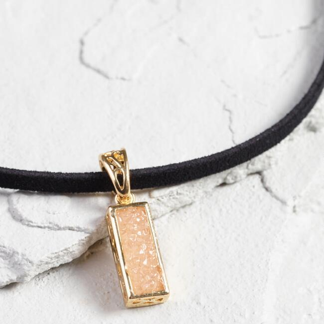 Blush Druzy and Black Suede Choker Necklace