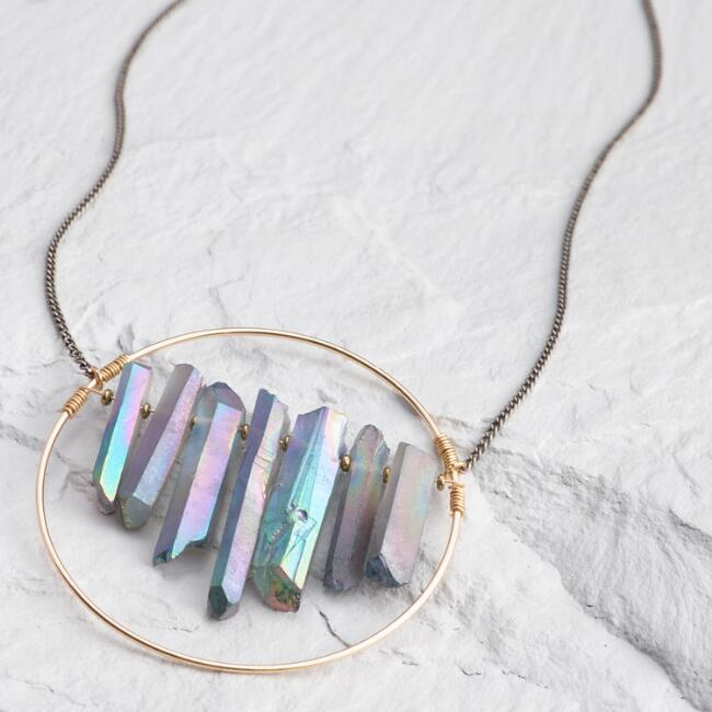 Gray Crystal Pendant Necklace