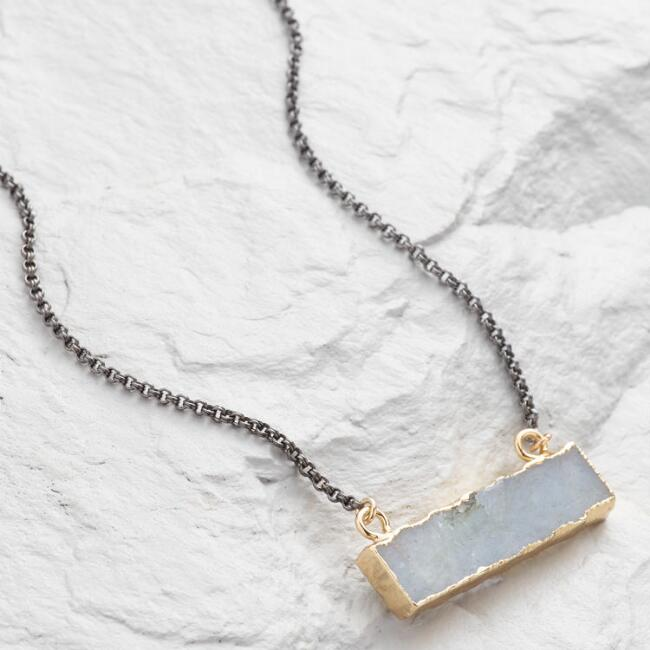 Gold Bar with Labradorite Pendant Necklace