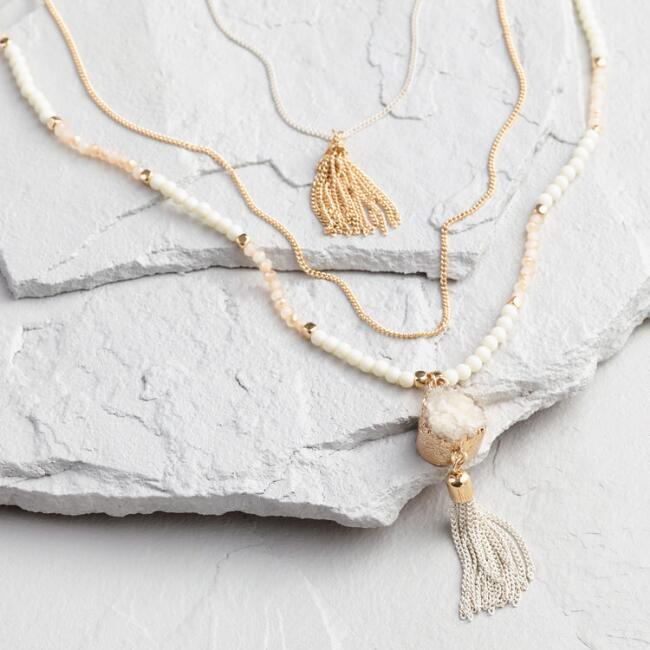 Gold and Druzy Stone Triple Layer Necklace