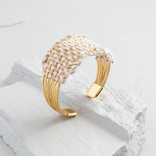 Gold Thread and Gold Cuff Bracelet