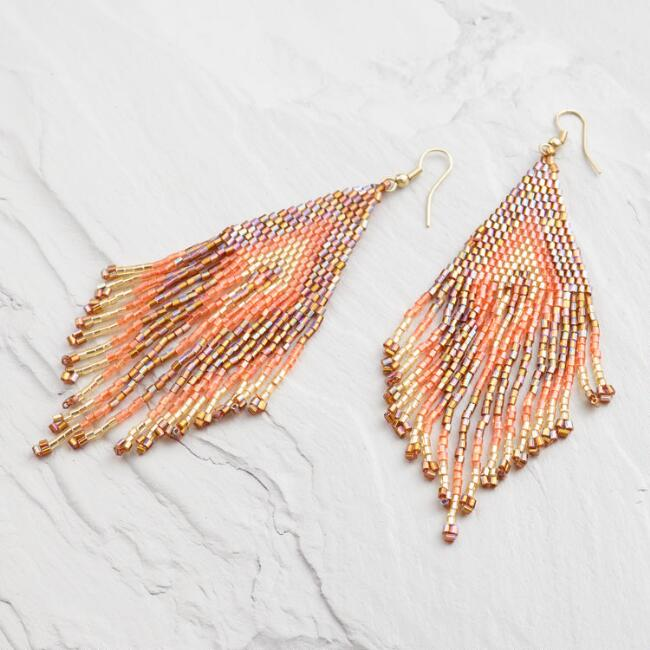 Orange Seed Bead Chandelier Earrings