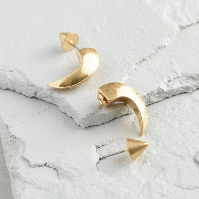 Gold Horn Front and Back Stud Earrings