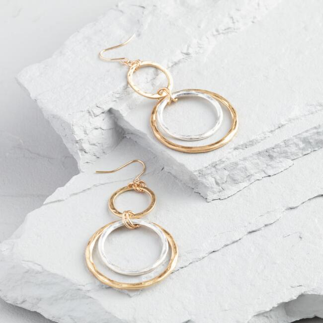 Gold and Silver Rings Drop Earrings