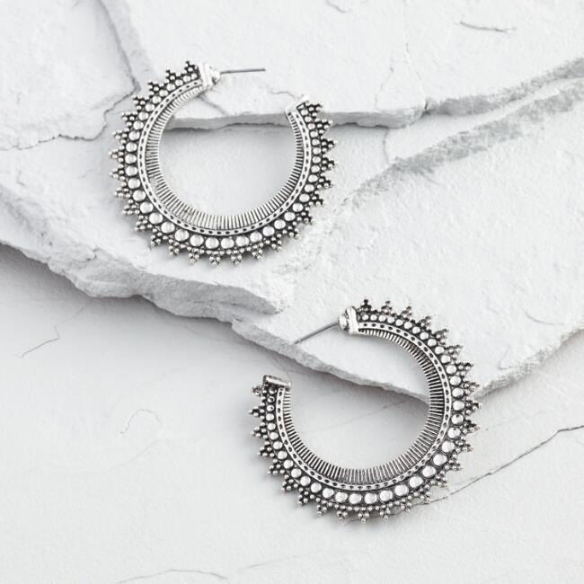 Silver Tribal Hoop Stud Earrings