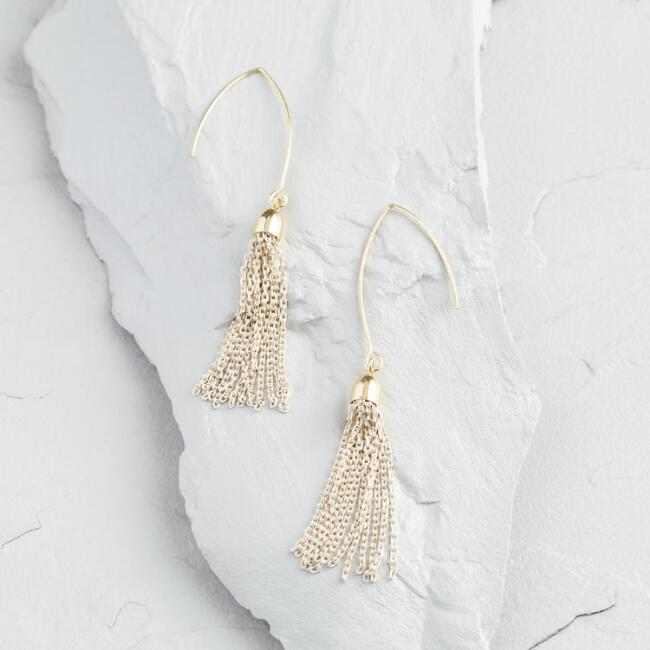 Gold and White Chain Tassel Drop Earrings
