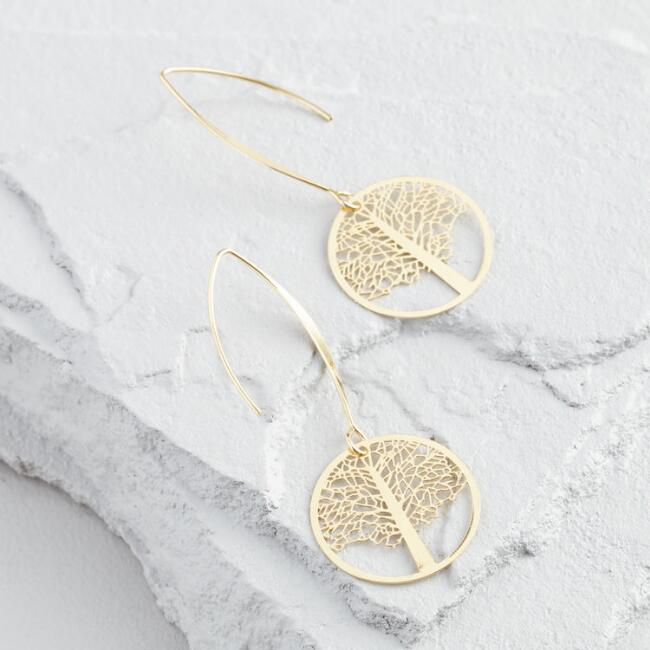 Gold Tree of Life Long Drop Earrings