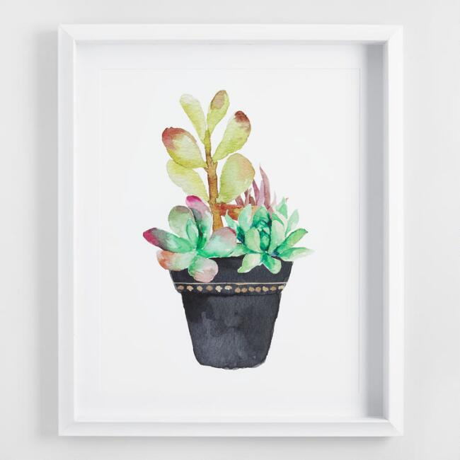 Watercolor Cactus Framed Shadowbox Wall Art