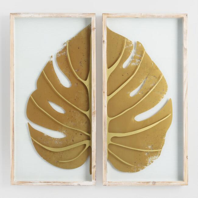 Gold Leaf On Glass Diptych Shadow Box Wall Art Set Of 2