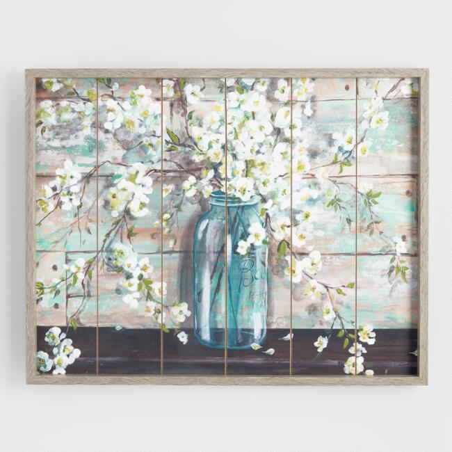 Mason jar flowers on wood framed wall art