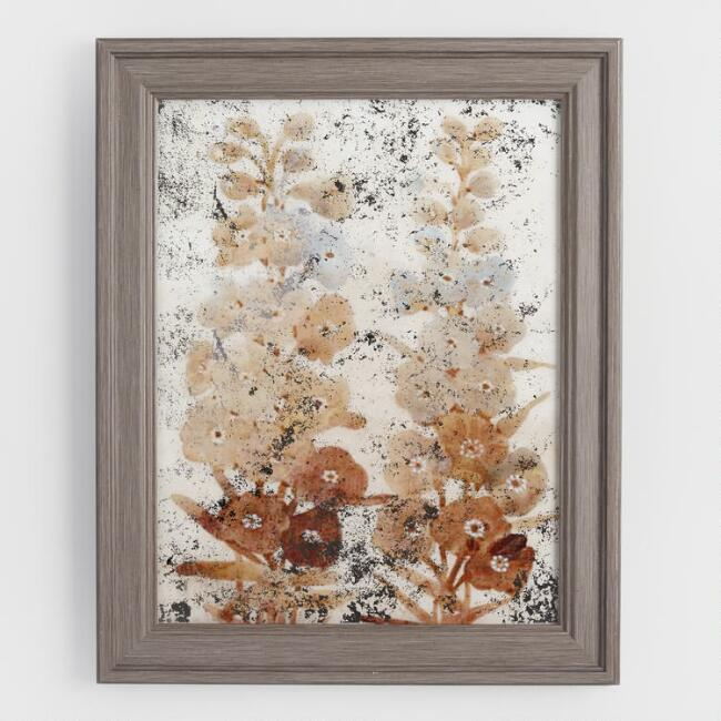 Vintage Wildflower on Glass Framed Wall Art