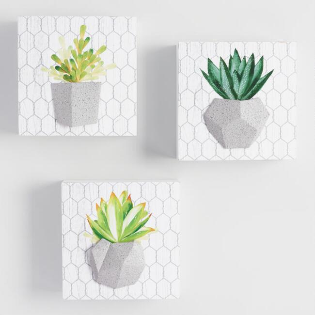 Potted Succulent Dimensional Wall Art 3 Piece