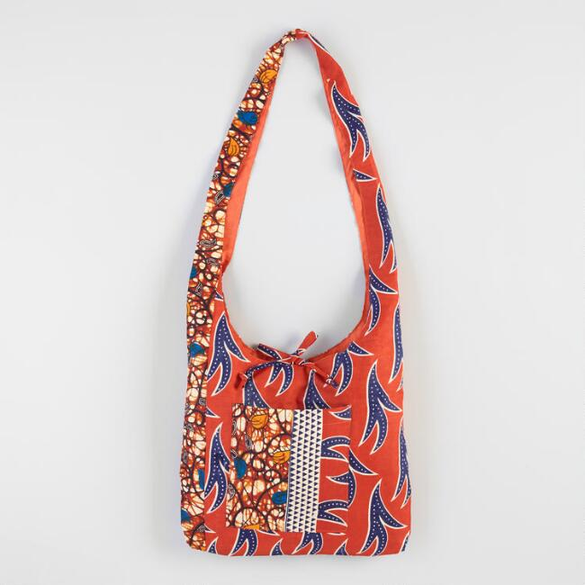 Orange Wax Print Crossbody Bag