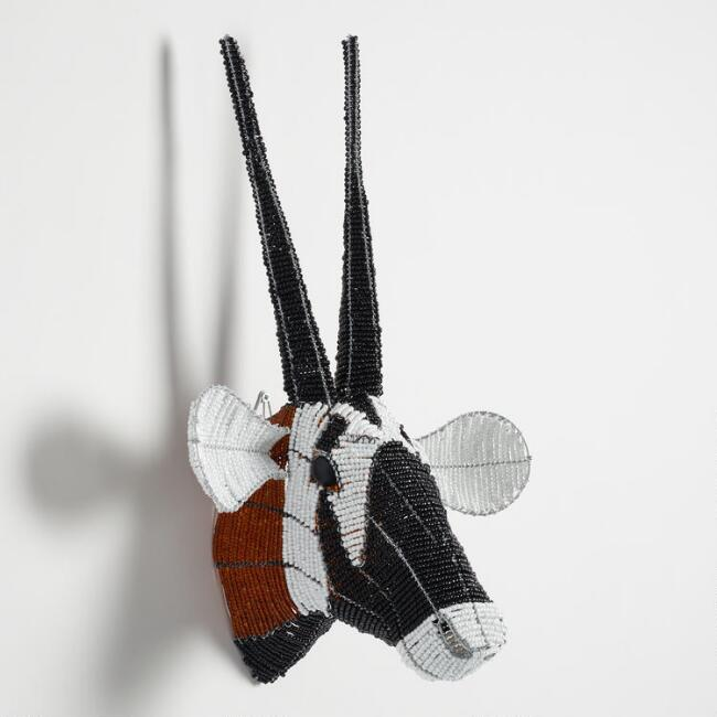 Beaded Oryx Bust Wall Decor