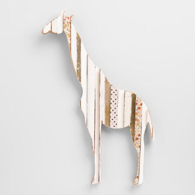 Giraffe White and Gold Wall Decor