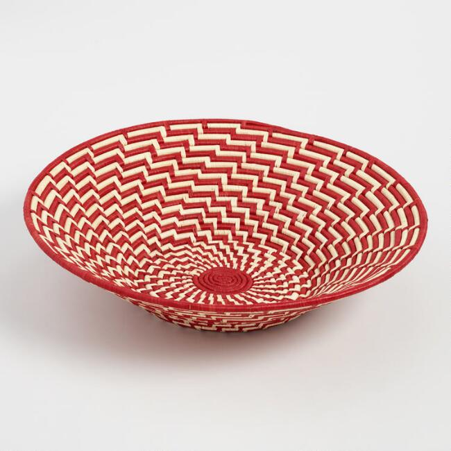 Large Red and Natural Raffia Basket