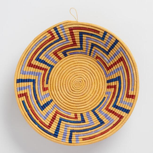 Natural, Red and Blue Single Coil Raffia Basket