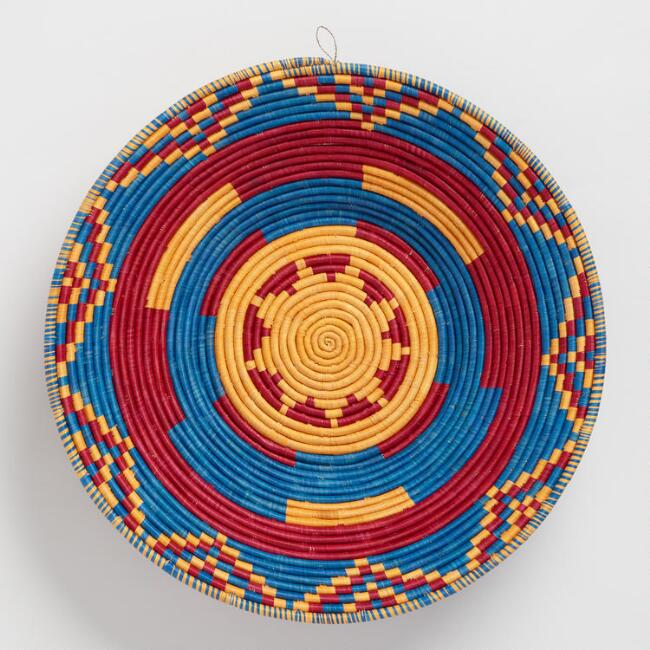 Marigold, Blue and Red Single Coil Raffia Basket