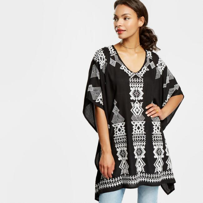 Black and White Adriana Embroidered Tunic