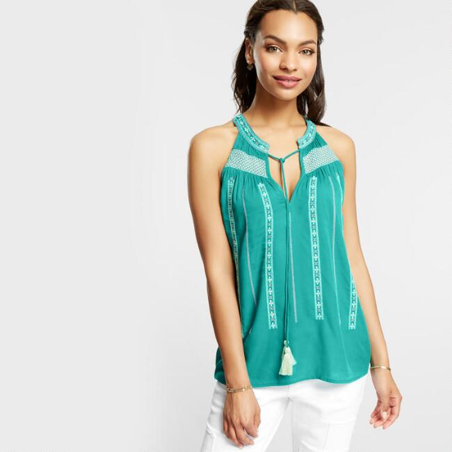Green Rayne Embroidered Tank Top