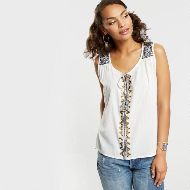 White Shay Embroidered Tank Top with Sequins