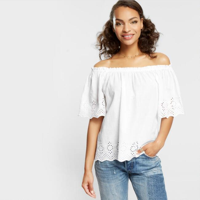 White Maddie Eyelet Off The Shoulder Top