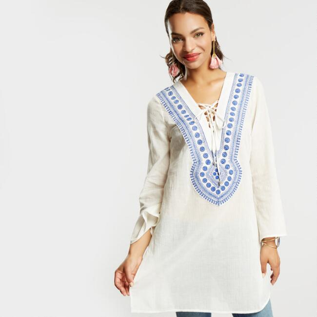 Ivory Embroidered Lace Up Tunic