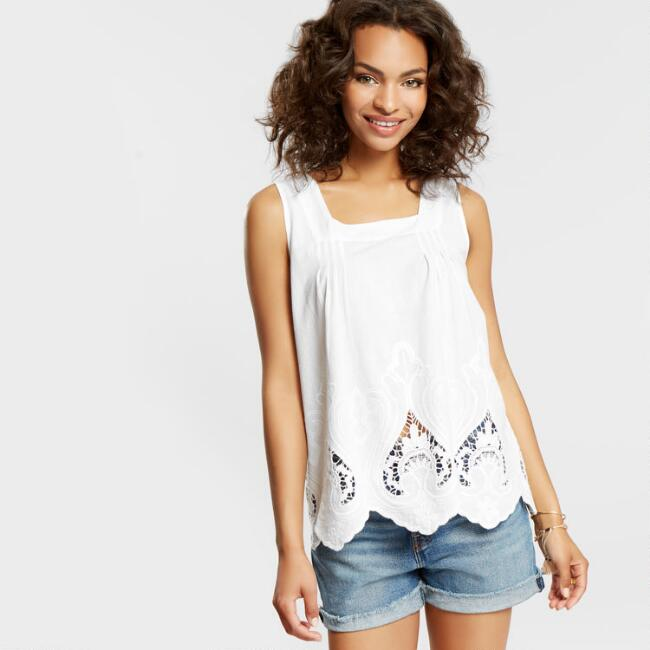White Marcia Embroidered Cutout Tank Top