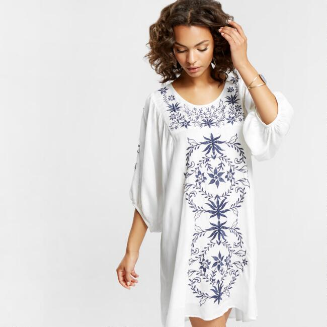 White Embroidered Tonia Dress