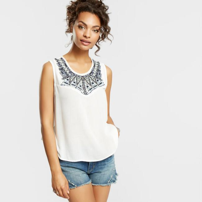 White Beaded Tricia Tank Top