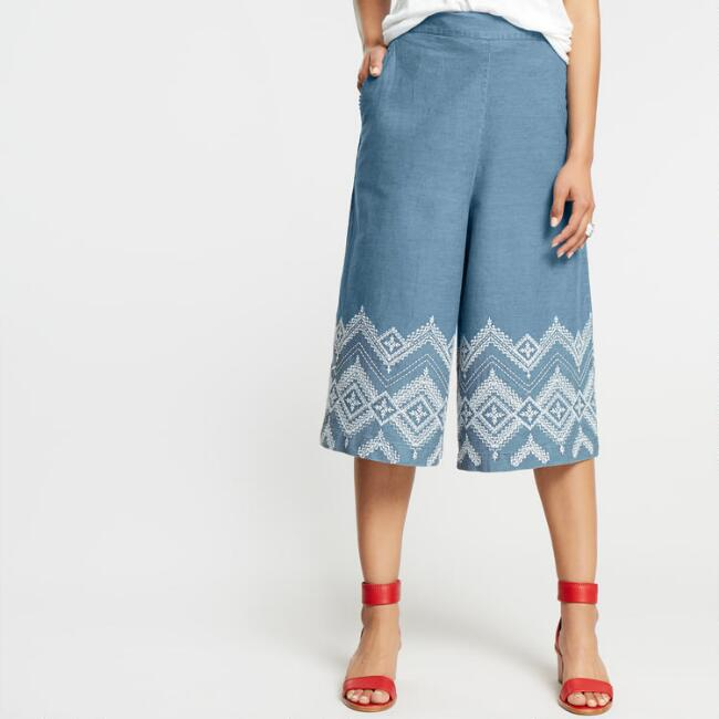 Denim Embroidered Leila Culottes