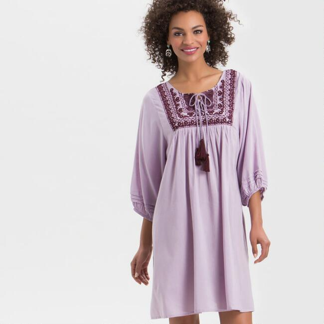 Lilac Embroidered Dress With Mirrors