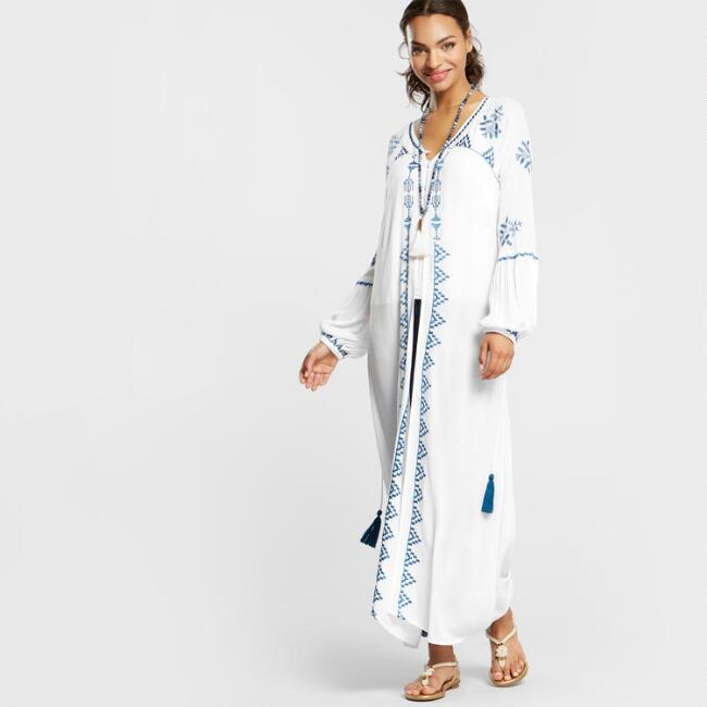World Market Lately: White Embroidered Athena Robe