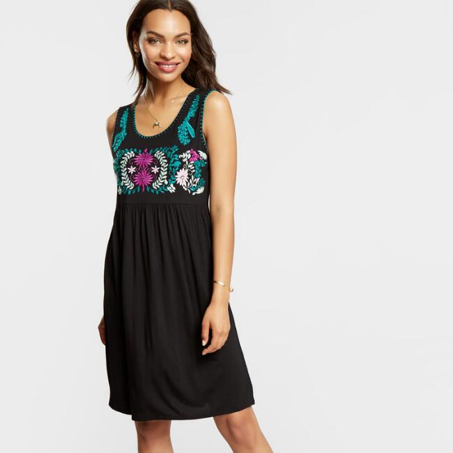 Black Embroidered Kelly Dress