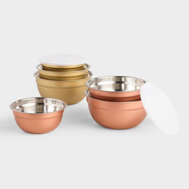Copper and Gold 3 Piece Storage Bowls with Lids Set of 2