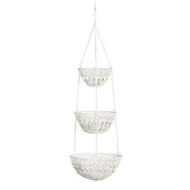 White Wire Macrame 3 Tier Hanging Basket